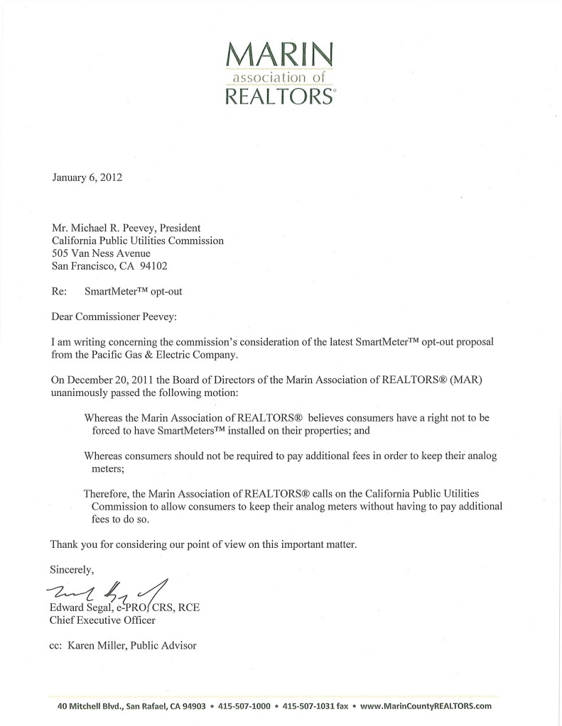 Smart Meter Opt Out Letter.Real Estate Values Burbank Action